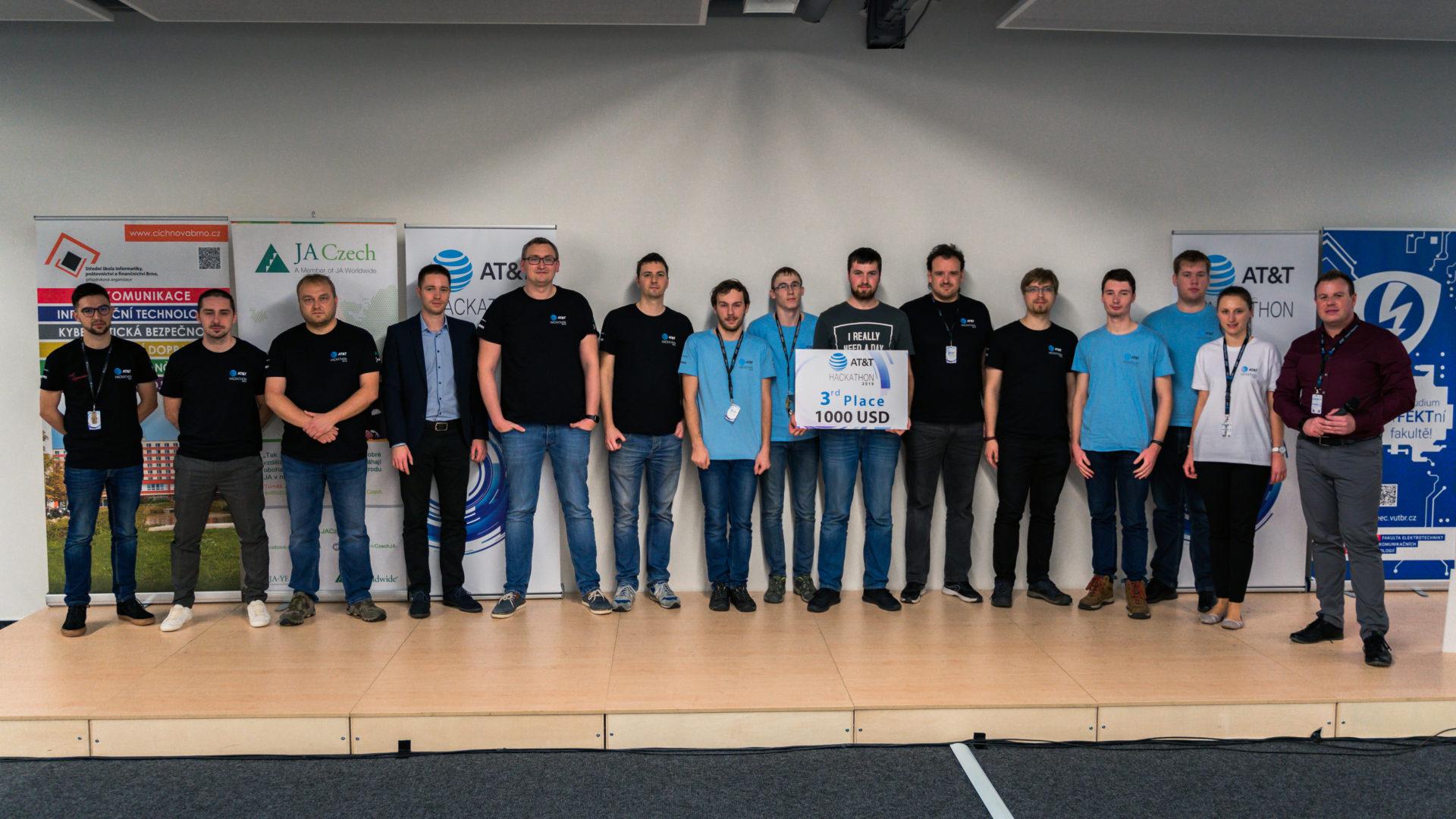 """AT&T Hackathon 2019, Brno Czech Republic, 3rd place """"Ústřední topení"""" team"""
