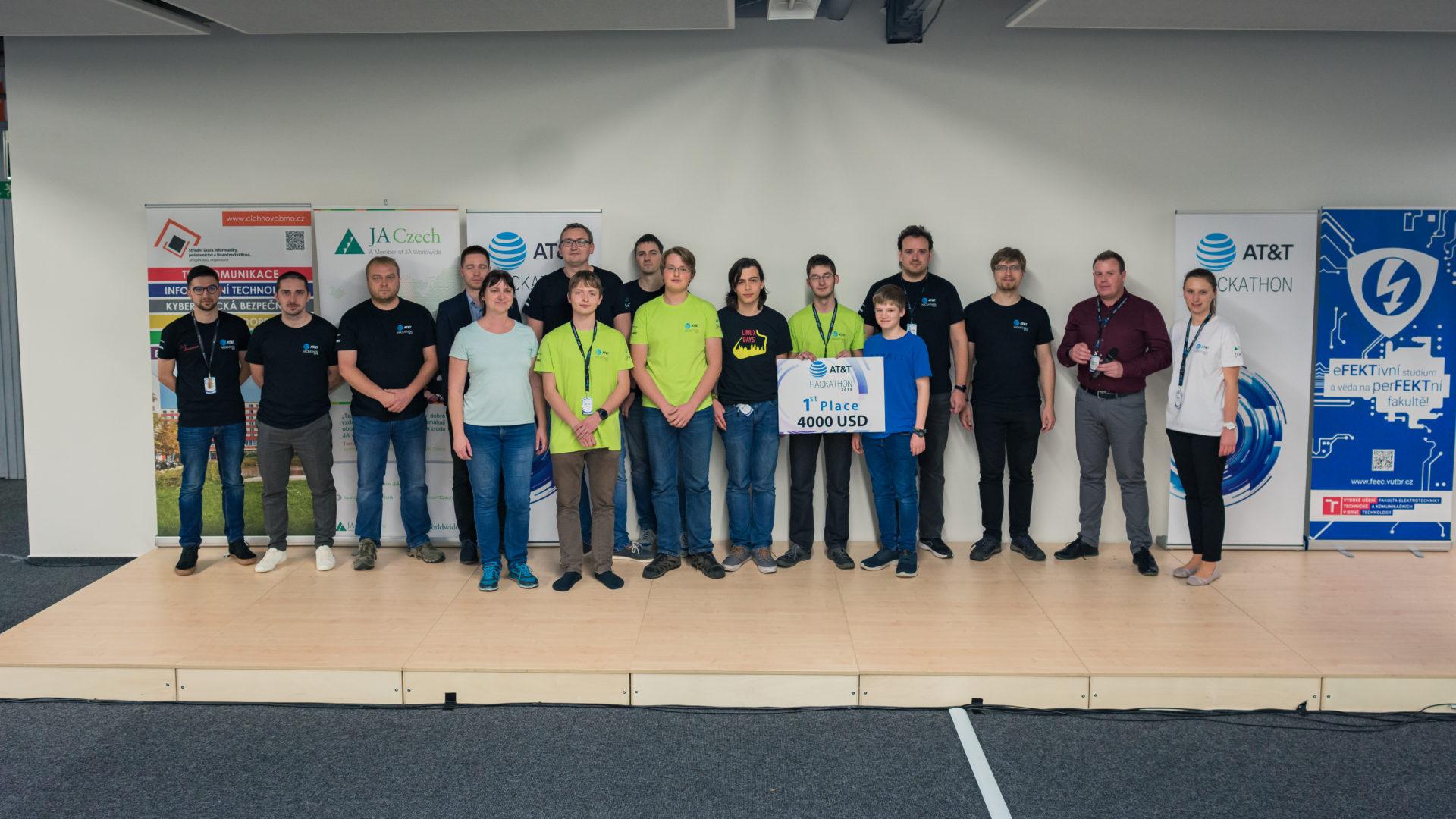 """AT&T Hackathon 2019, Brno Czech Republic, 1st place """"Pátek"""" team"""