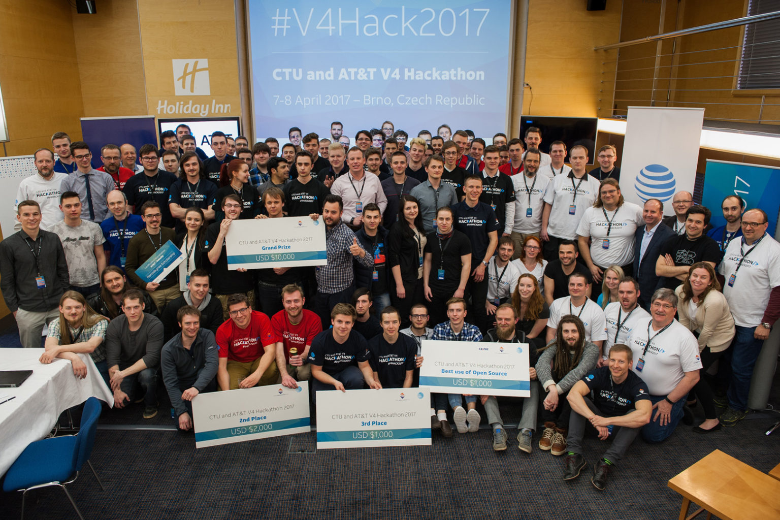 V4 Hackathon 2017 Brno, Holiday Inn. All participants of the contest.